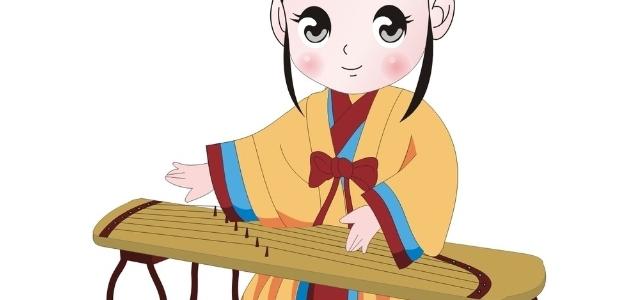 弹古筝小女孩儿卡通