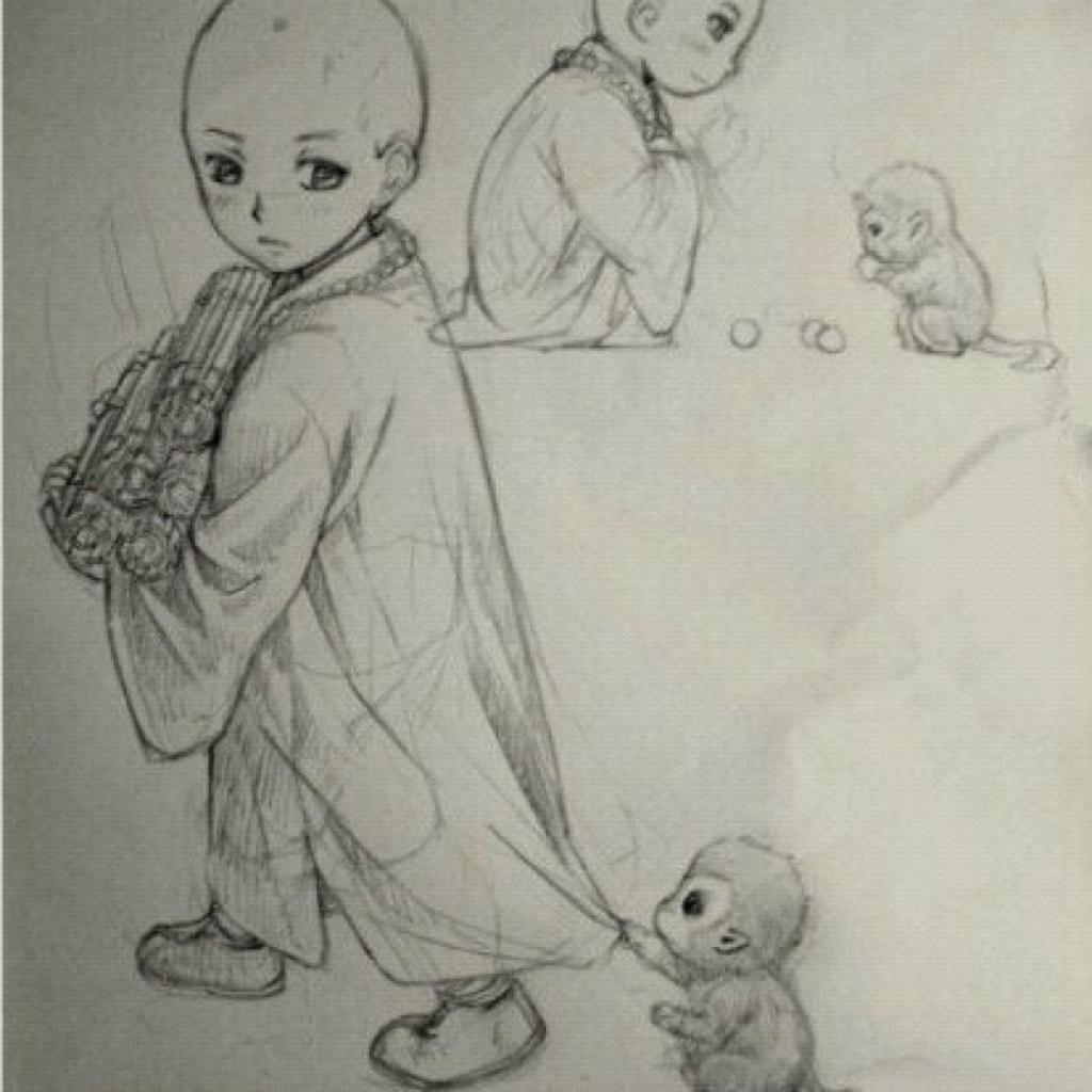 可爱猴子的素描图片
