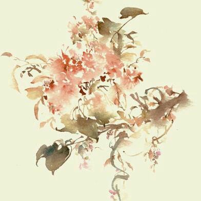 古风手绘桃花丛