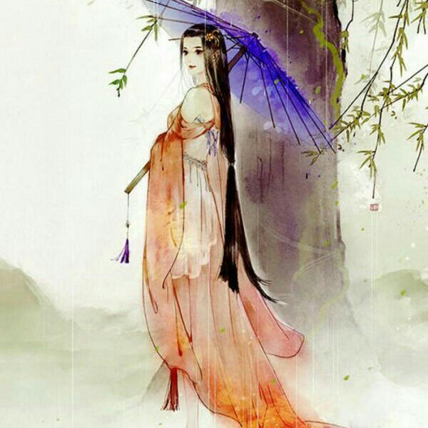 古风美女手绘再见
