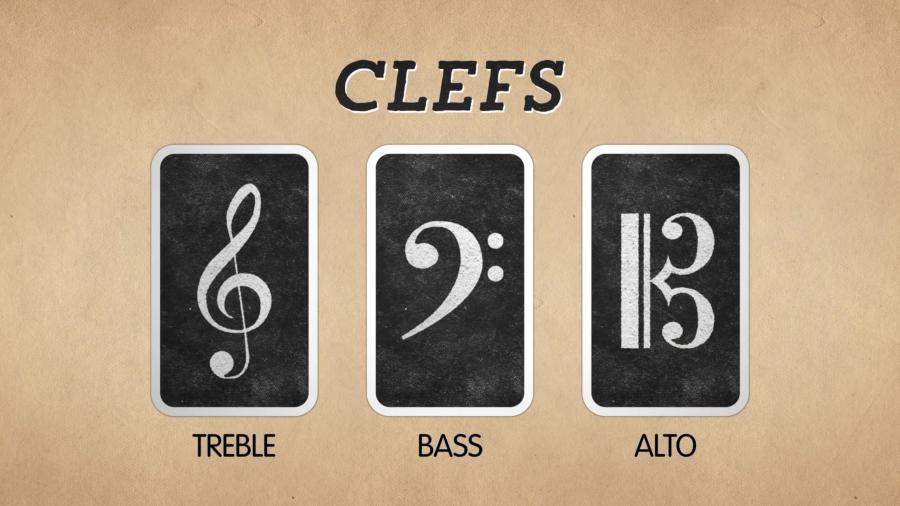 """边的叫做""""高音谱号"""",中间叫做""""低音谱号"""",最右边是""""中音谱"""